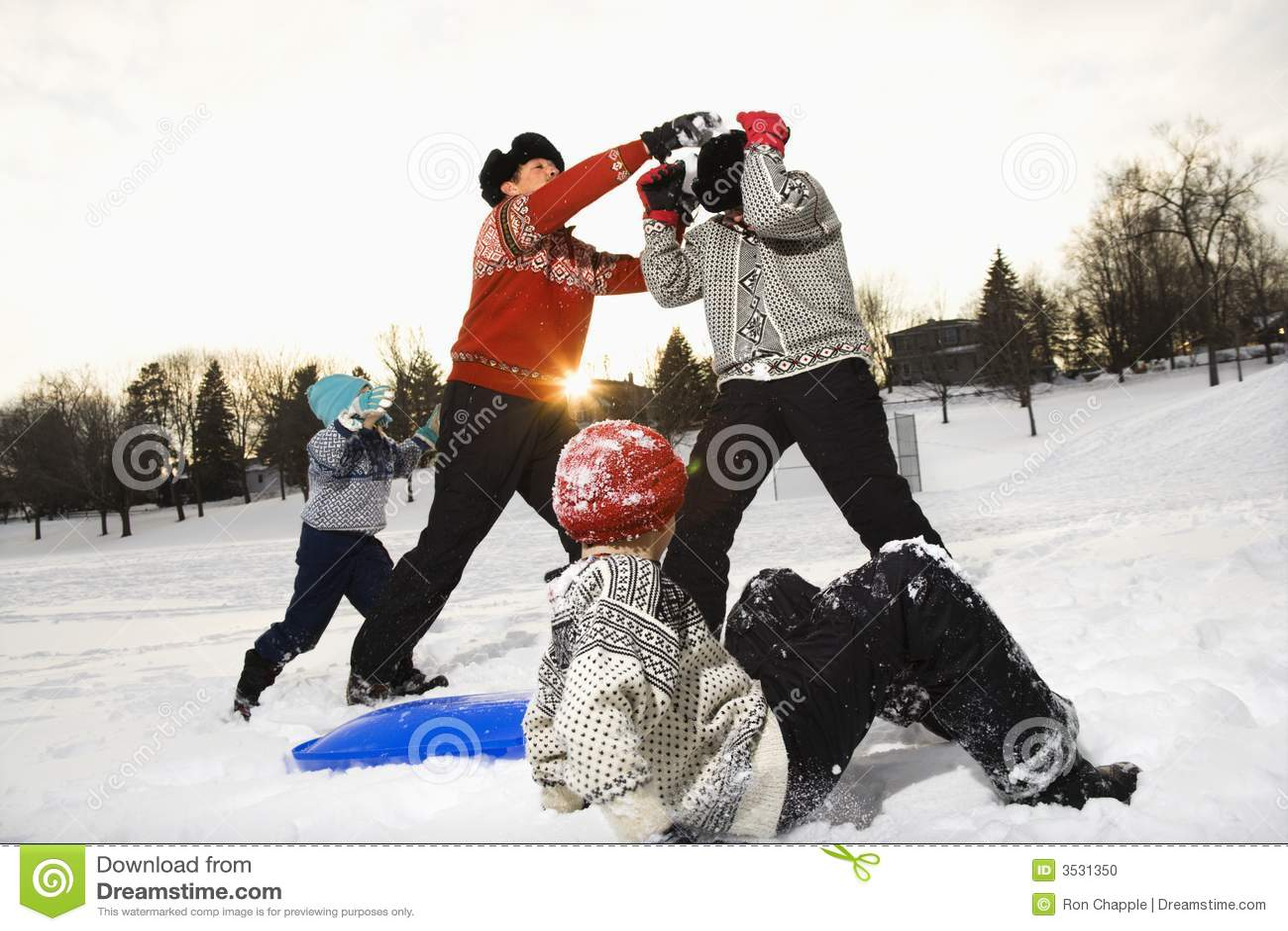 Leka snow för familj