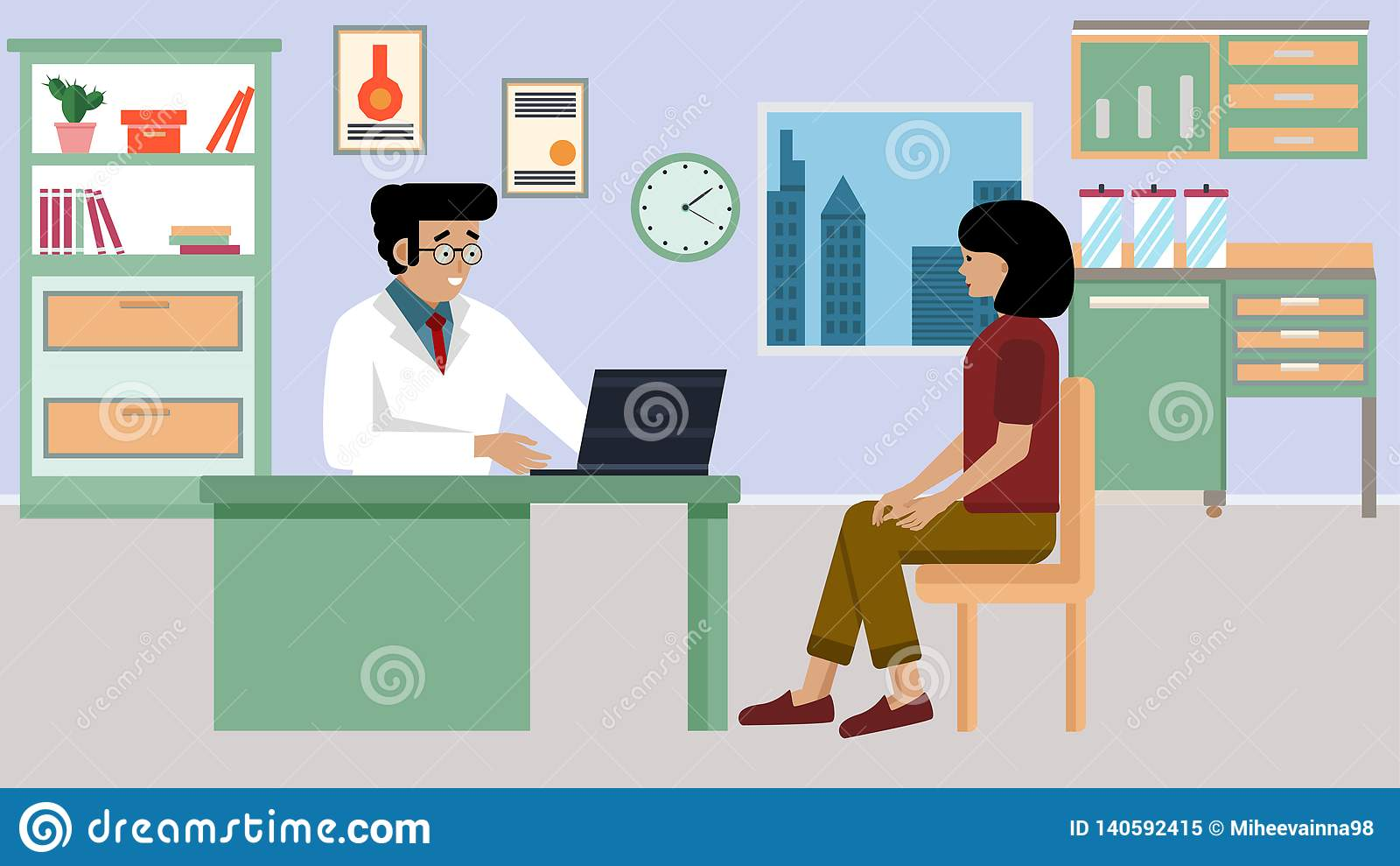 Lekarka i pacjent w mieszkanie stylu