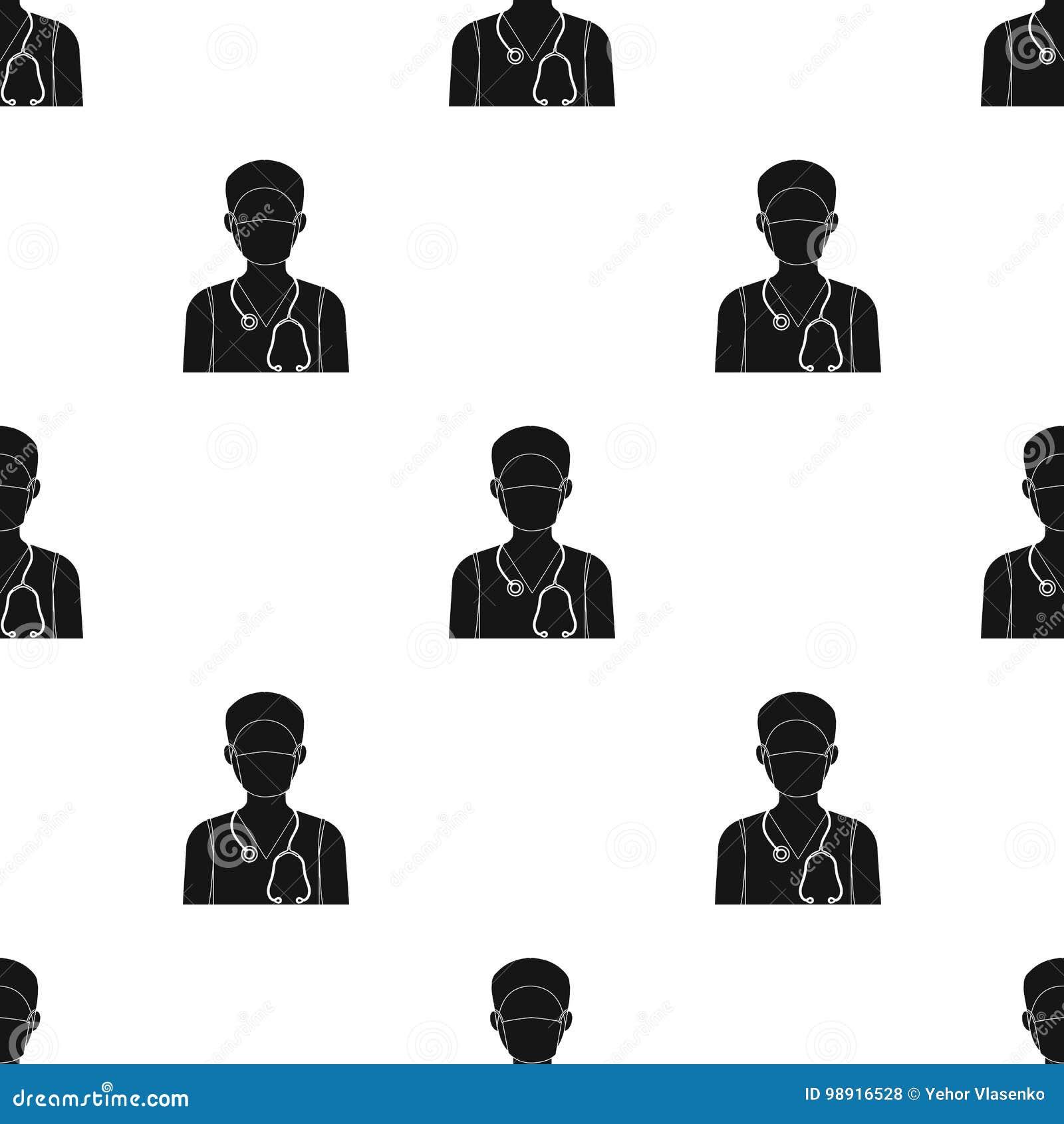 Lekarka jest ubranym twarzy maskę z fonendoskopem Medycyny pojedyncza ikona w czerń stylu symbolu wektorowym zapasie