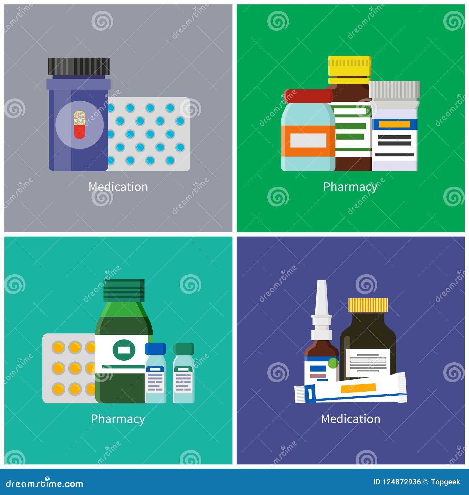 Lekarstwa i apteki Ustalona Wektorowa ilustracja