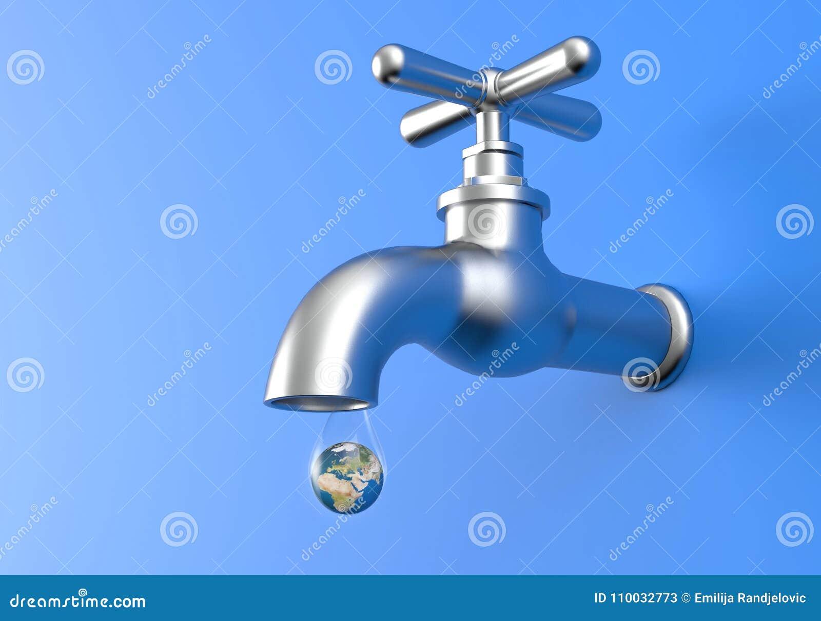 Lekke Tapkraan en aardeplaneet in daling van water