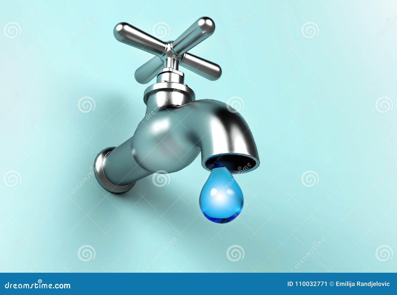 Lekke Tapkraan en daling van water Sparen waterconcept