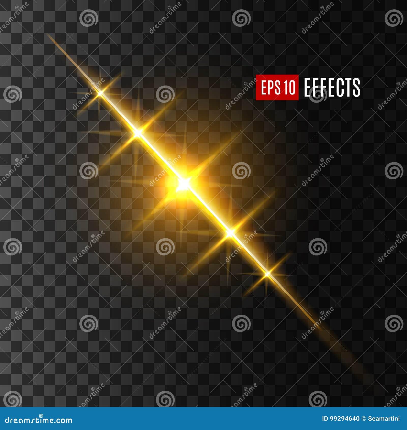 Lekki błysku, słońca lub gwiazdy połysku skutek