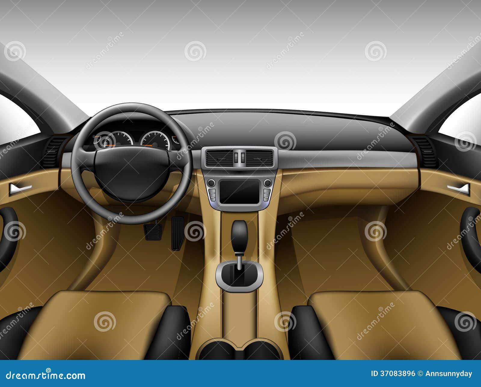 Download Lekki Beżowy Rzemienny Samochodowy Wnętrze Ilustracja Wektor - Ilustracja złożonej z zapach, skóra: 37083896