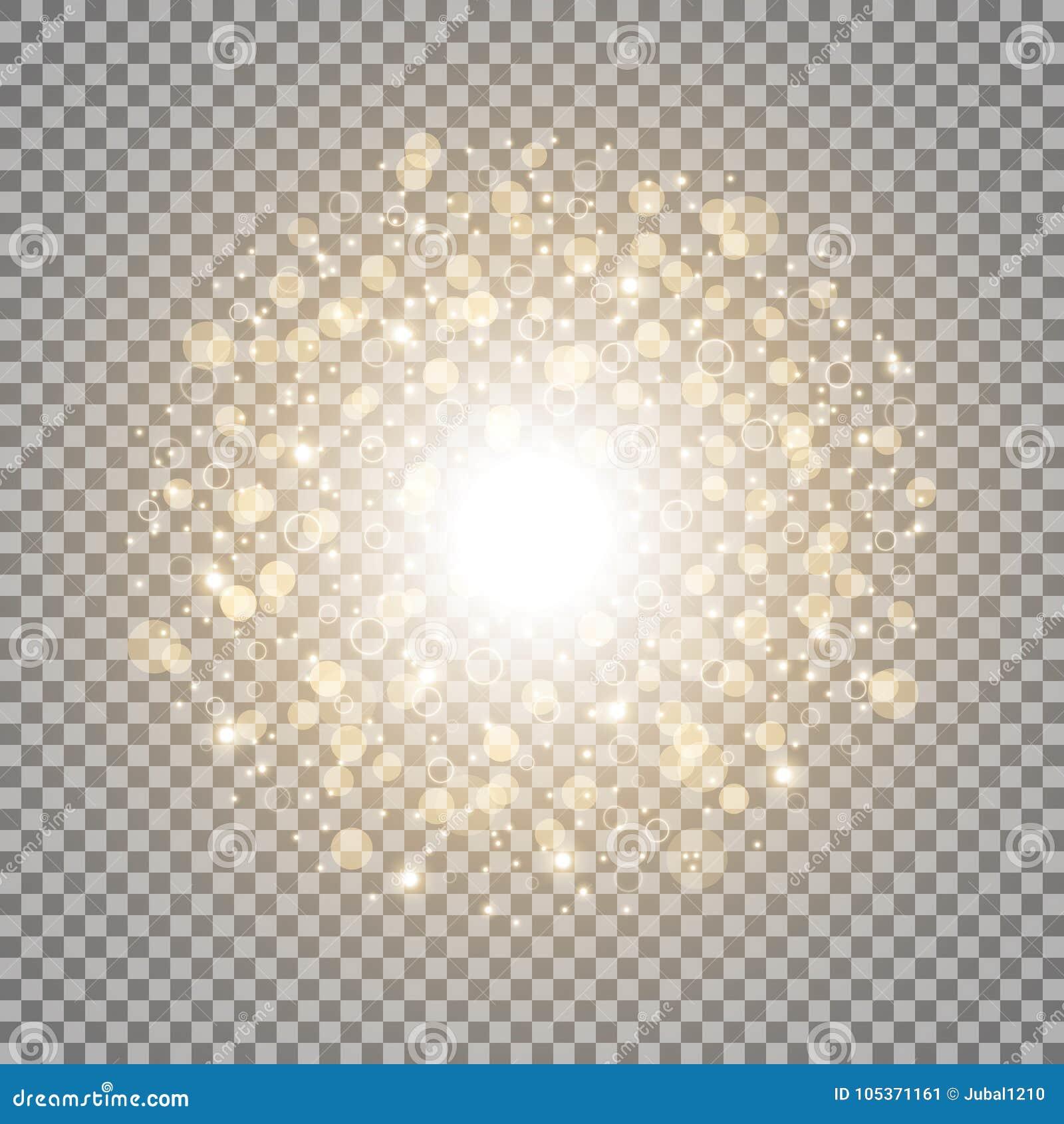 Lekki okrąg z dosts i iskrami, złoty kolor