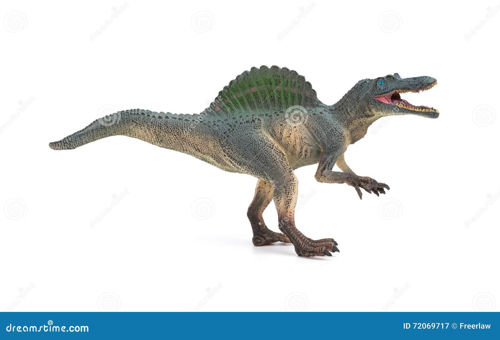 Leksak för spinosaurus för sidosikt grå på vit bakgrund