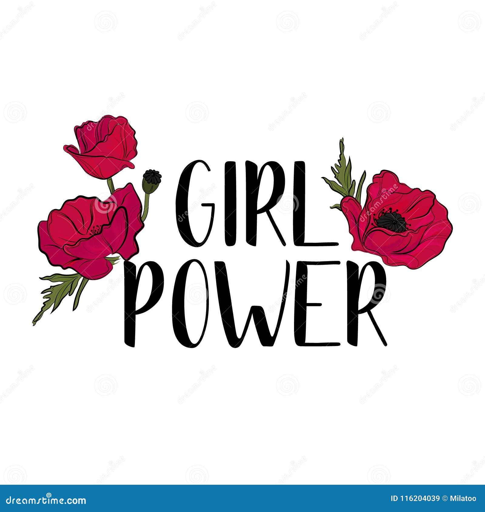 Lema feminista de la tipografía con el vector rojo lindo de las flores para la impresión de la camiseta y bordado, camiseta gráfi