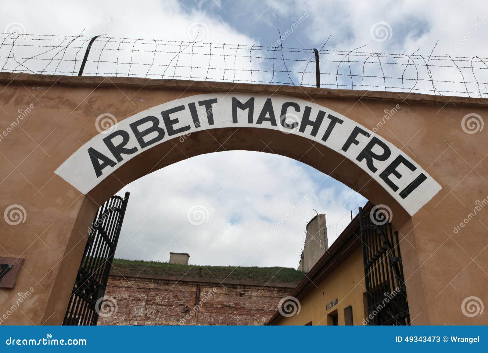 Lema nazi Arbeit Macht Frei en Terezin