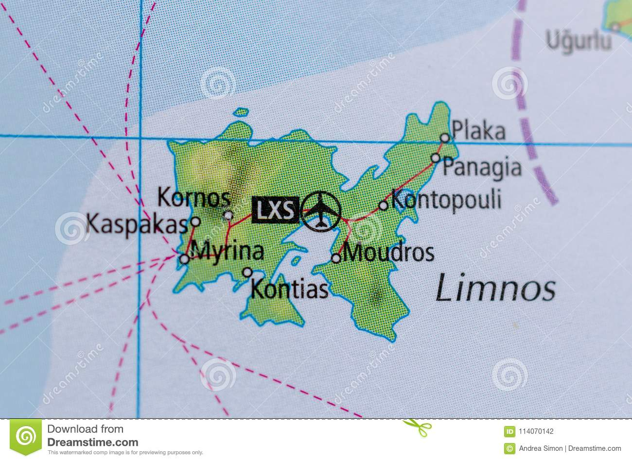 Lemnos Greece Map.Lemnos On Map Stock Photo Image Of Moudros Pages Atlas 114070142