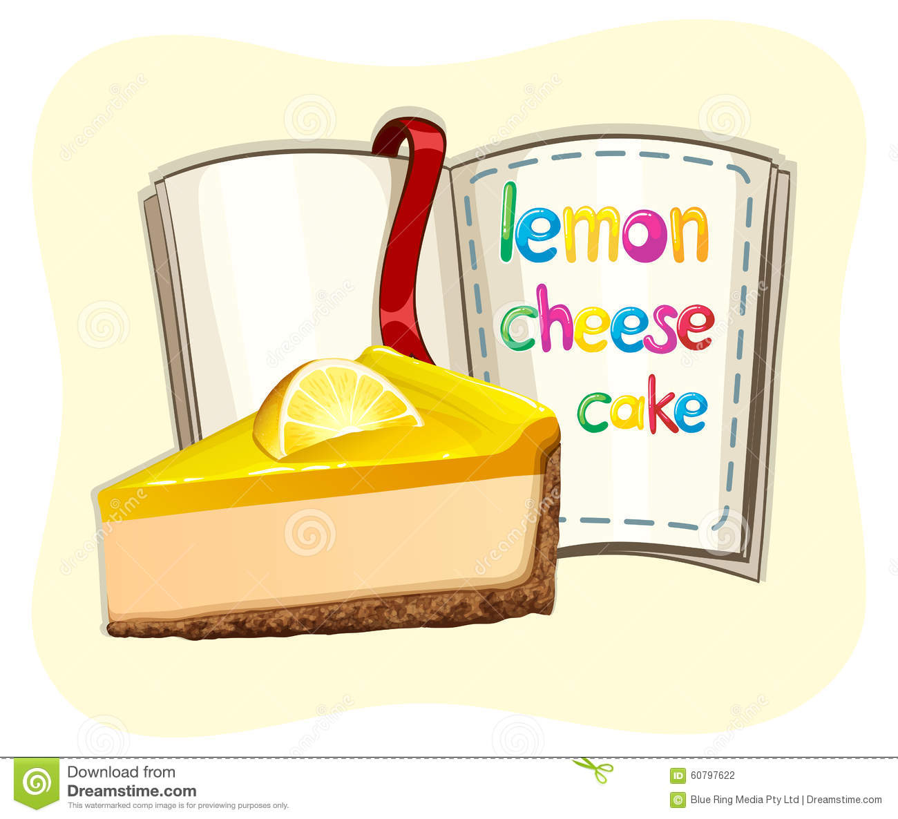 Lemon Cheesecake And A Book Stock Vector Illustration Of Treat