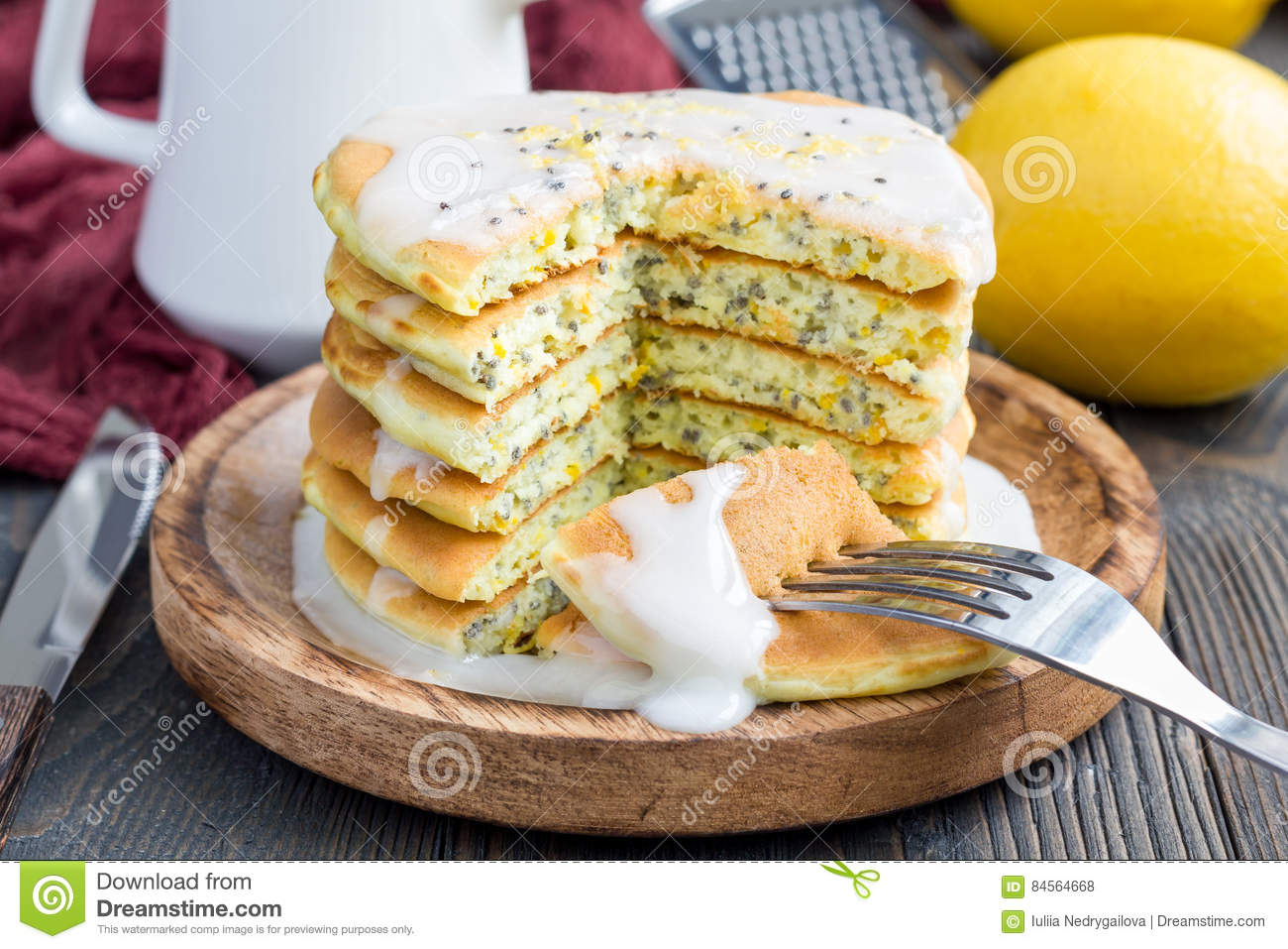 Lemon and chia seed pancakes with citrus glaze, horizontal