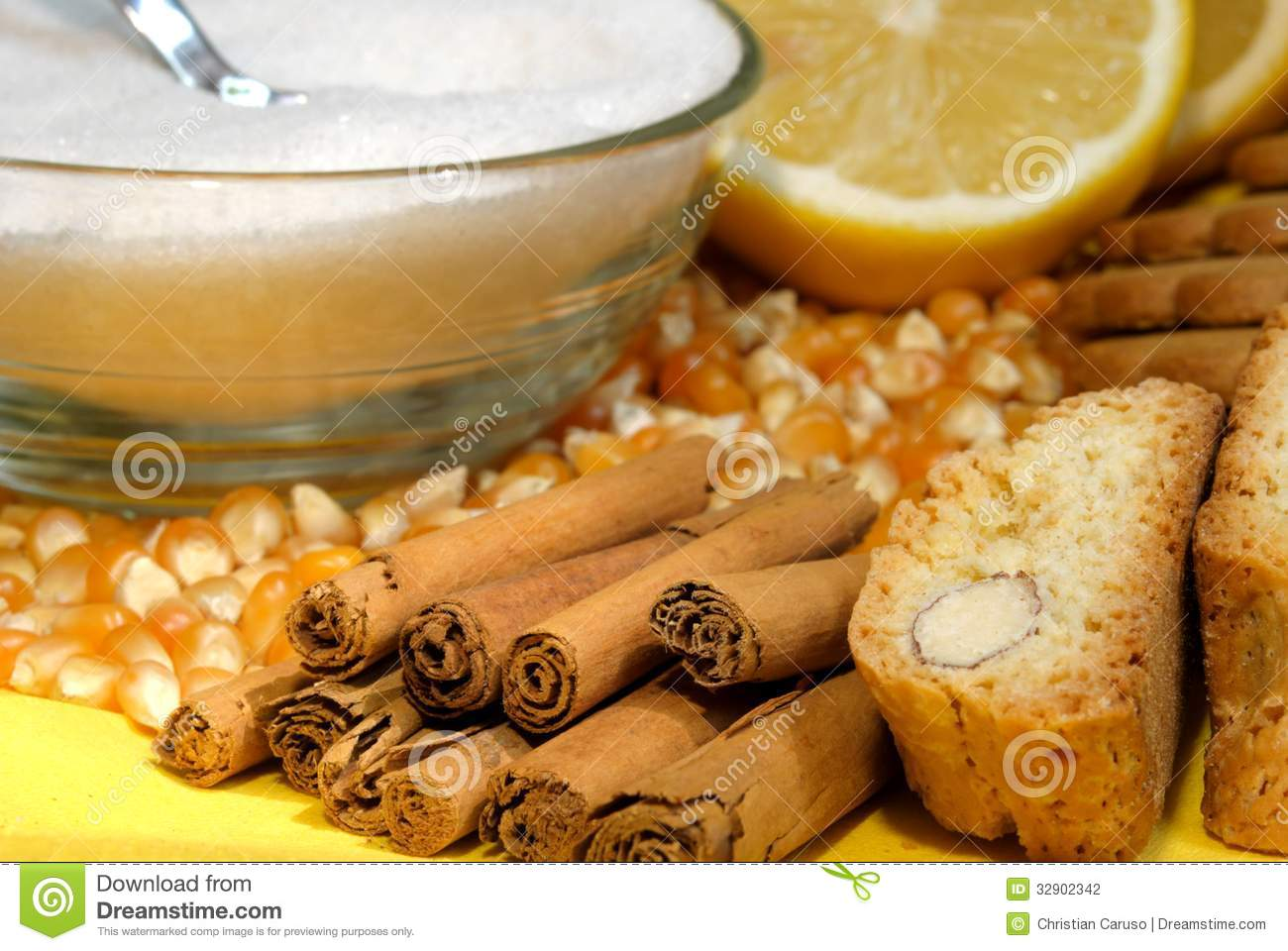 Lemon and cinnamon stock photography image 32902342 for What are the ingredients to make a cake