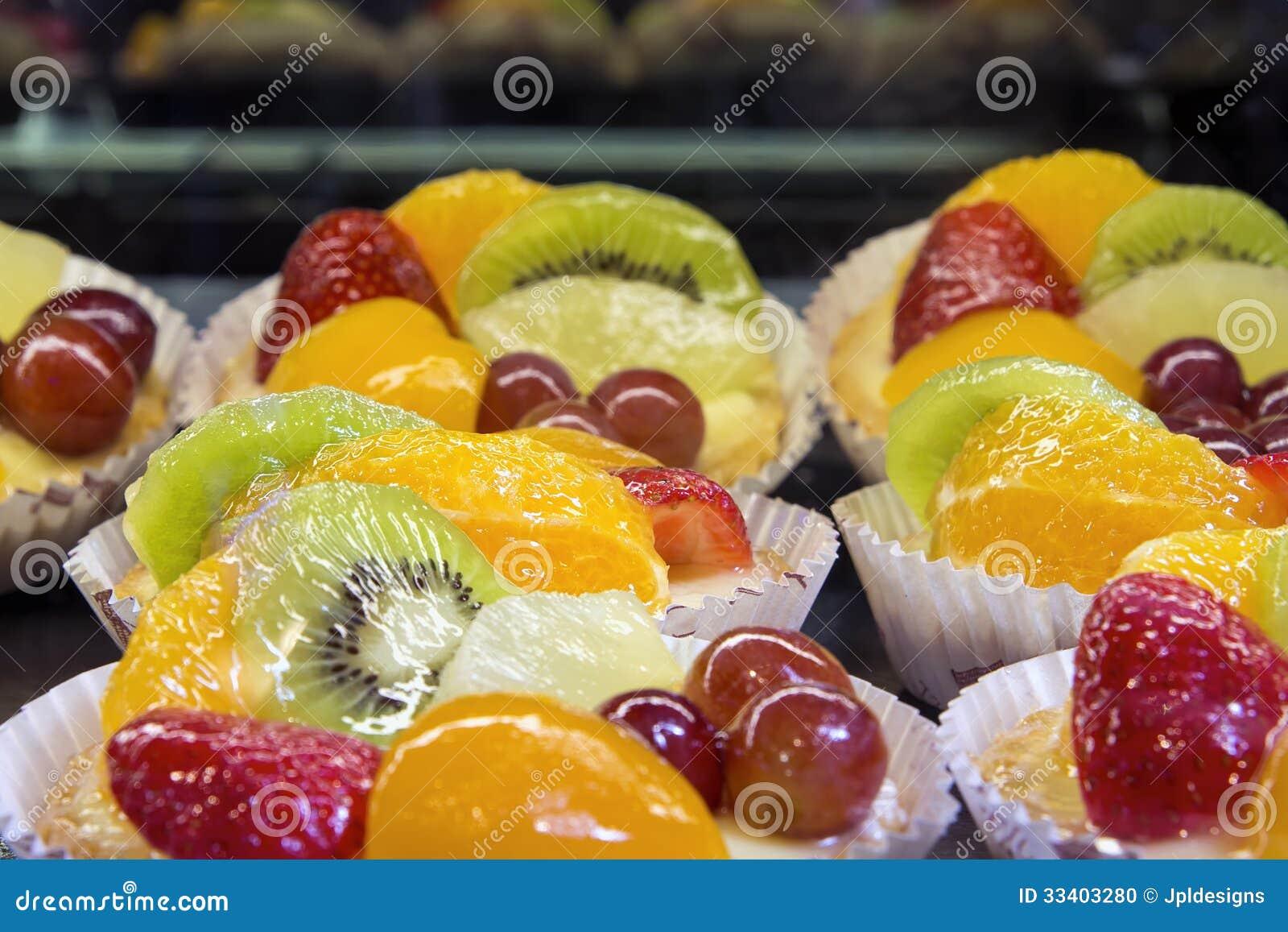 Lemon Custard Tarts With Fruits Closeup Stock Photo ...