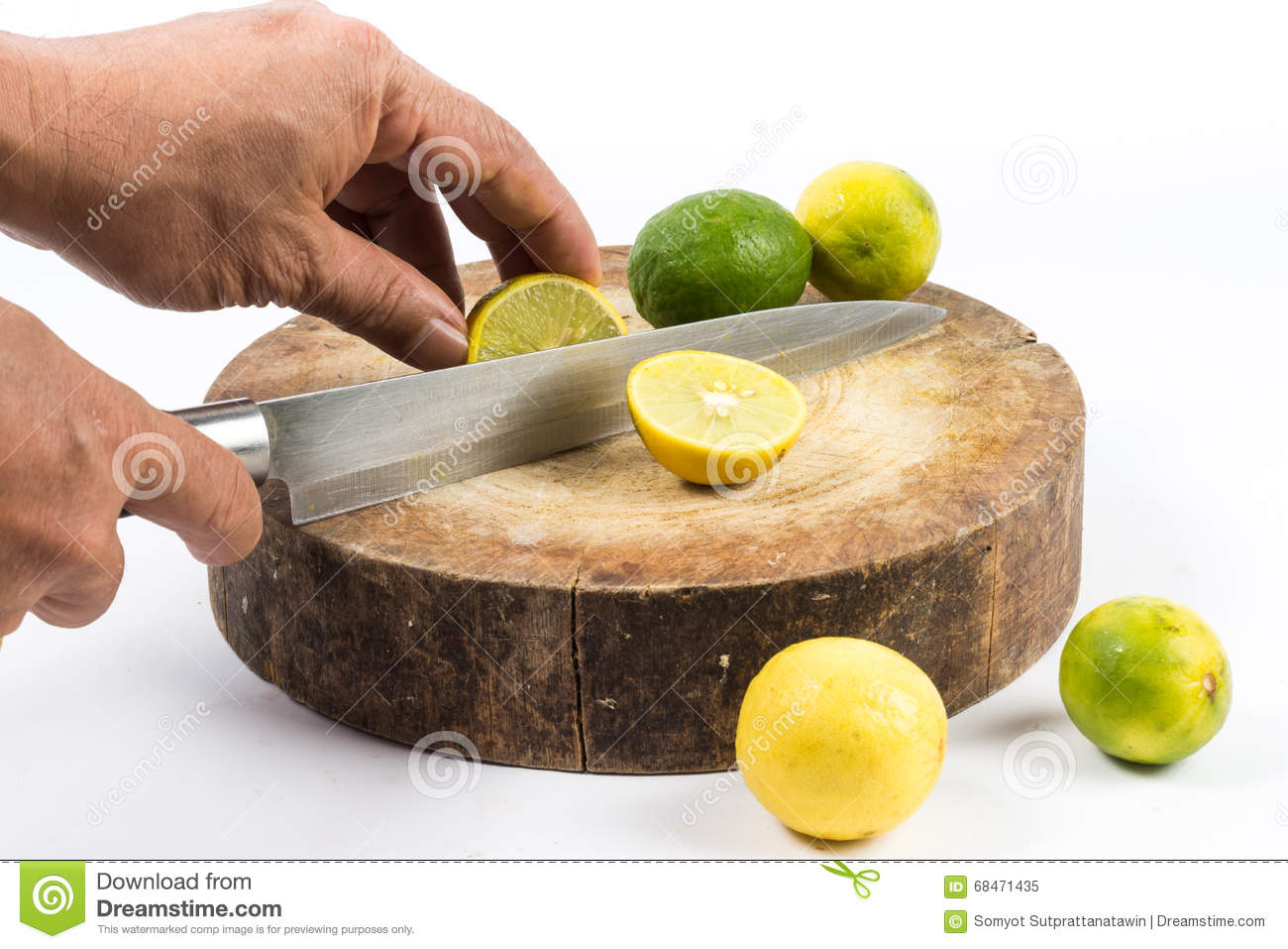 Lemon cut on chopping board
