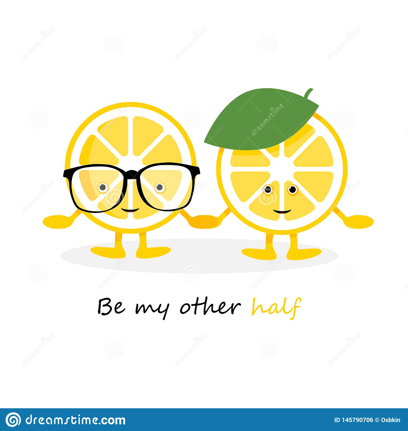 Lemon cute smile character. Cartoon yellow fruits in glasses card and hat, which hold hands card