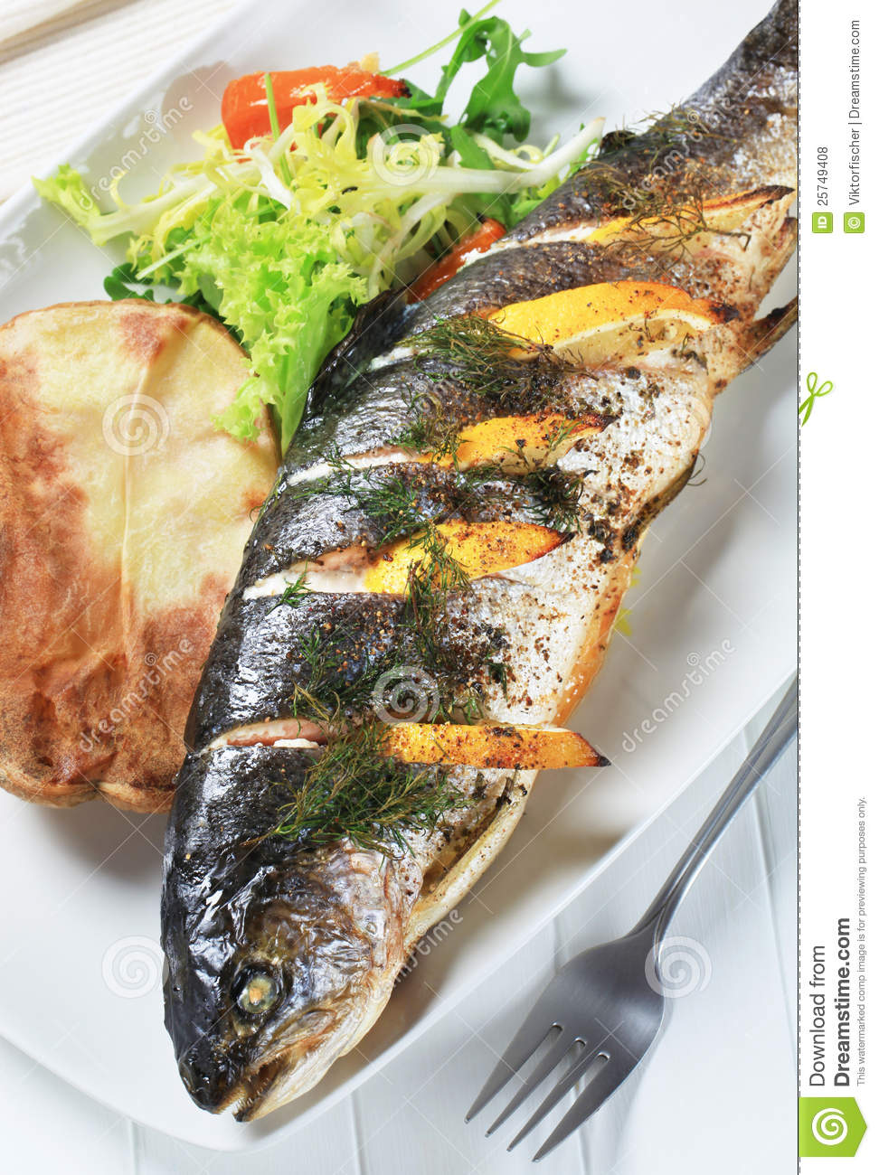 Lemon Dill Trout With Baked Potato Royalty Free Stock Photos - Image ...