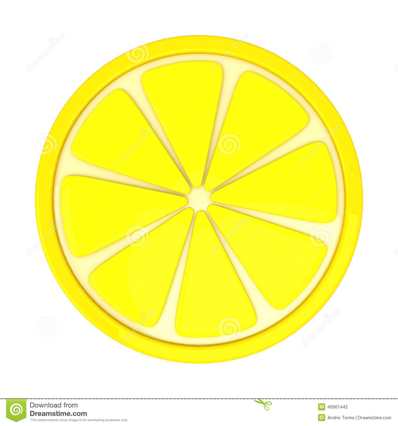 Lemon Fruit Slice, 3d Stock Illustration - Image: 40661442