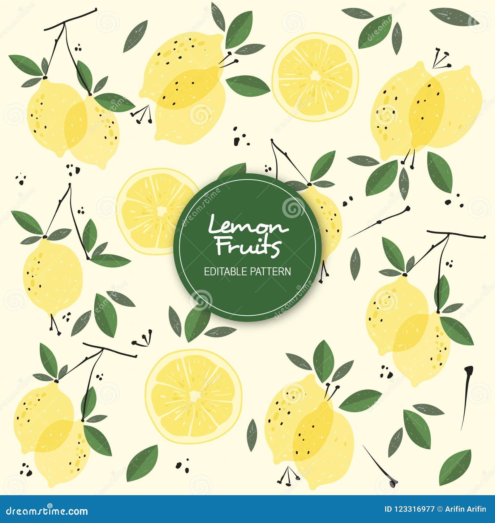 lemon fruits editable background pattern stock illustration