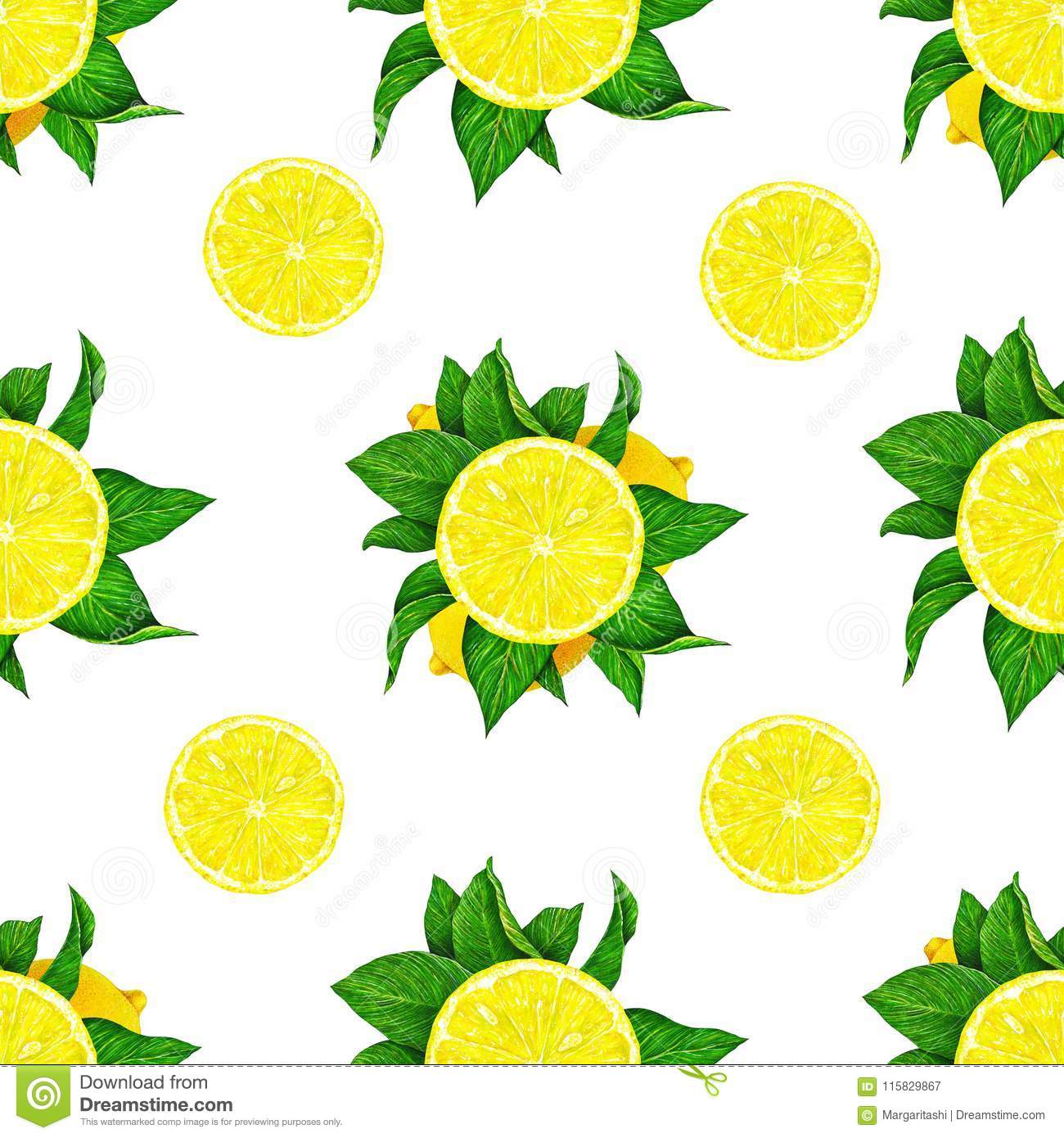 Lemon fruits with green leaves isolated on white background. Watercolor drawing seamless pattern for design.