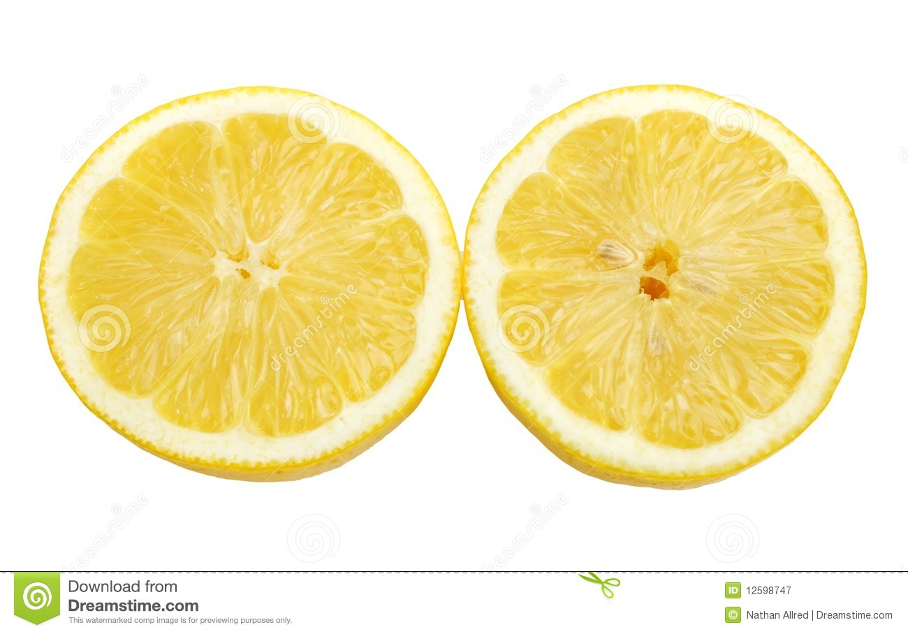Bright yellow lemon halves cutout on white background ...