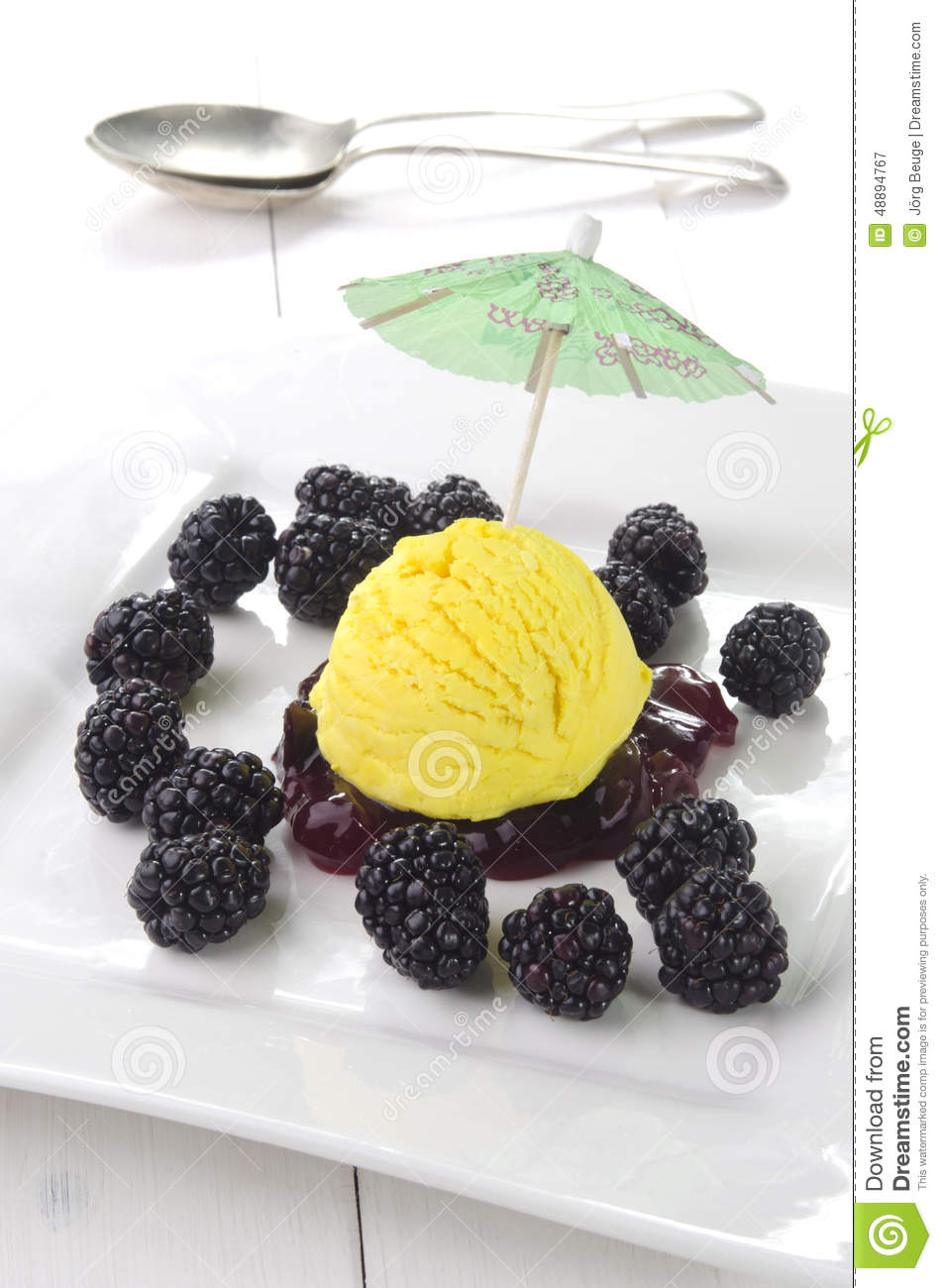 Lemon Ice Ball With Blackberries Stock Photo - Image: 48894767