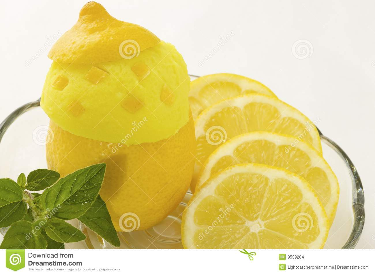 Lemon Ice Cream Stock Images - Image: 9539284