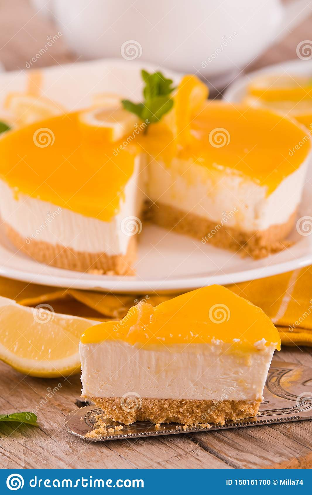 Lemon and mascarpone cheesecake.