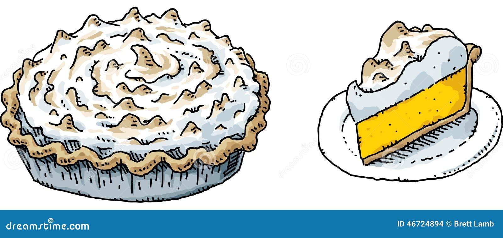 cartoon lemon meringue pie and a slice on a plate.