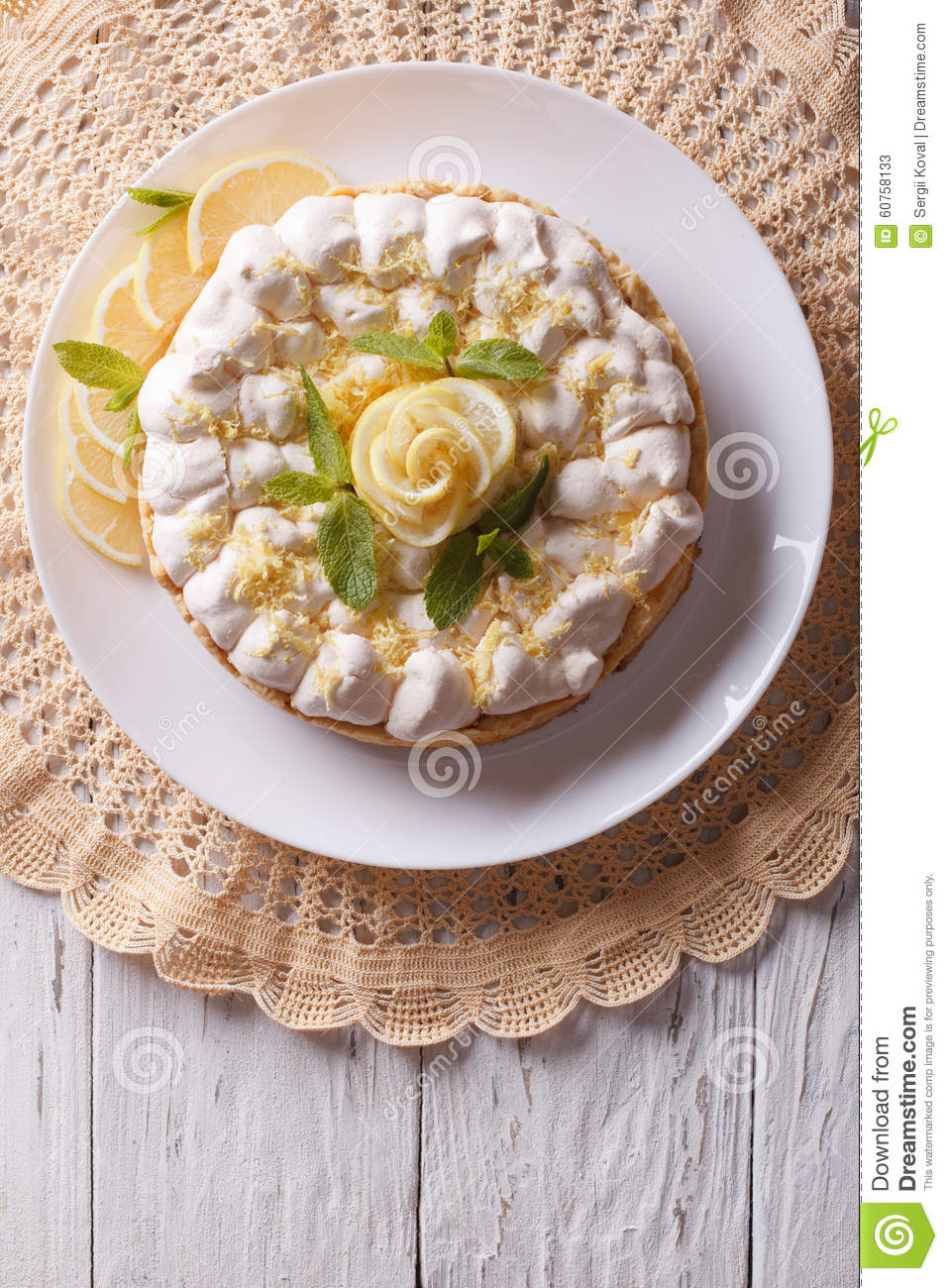 Lemon Meringue Pie On The Table. Vertical Top View Stock ...