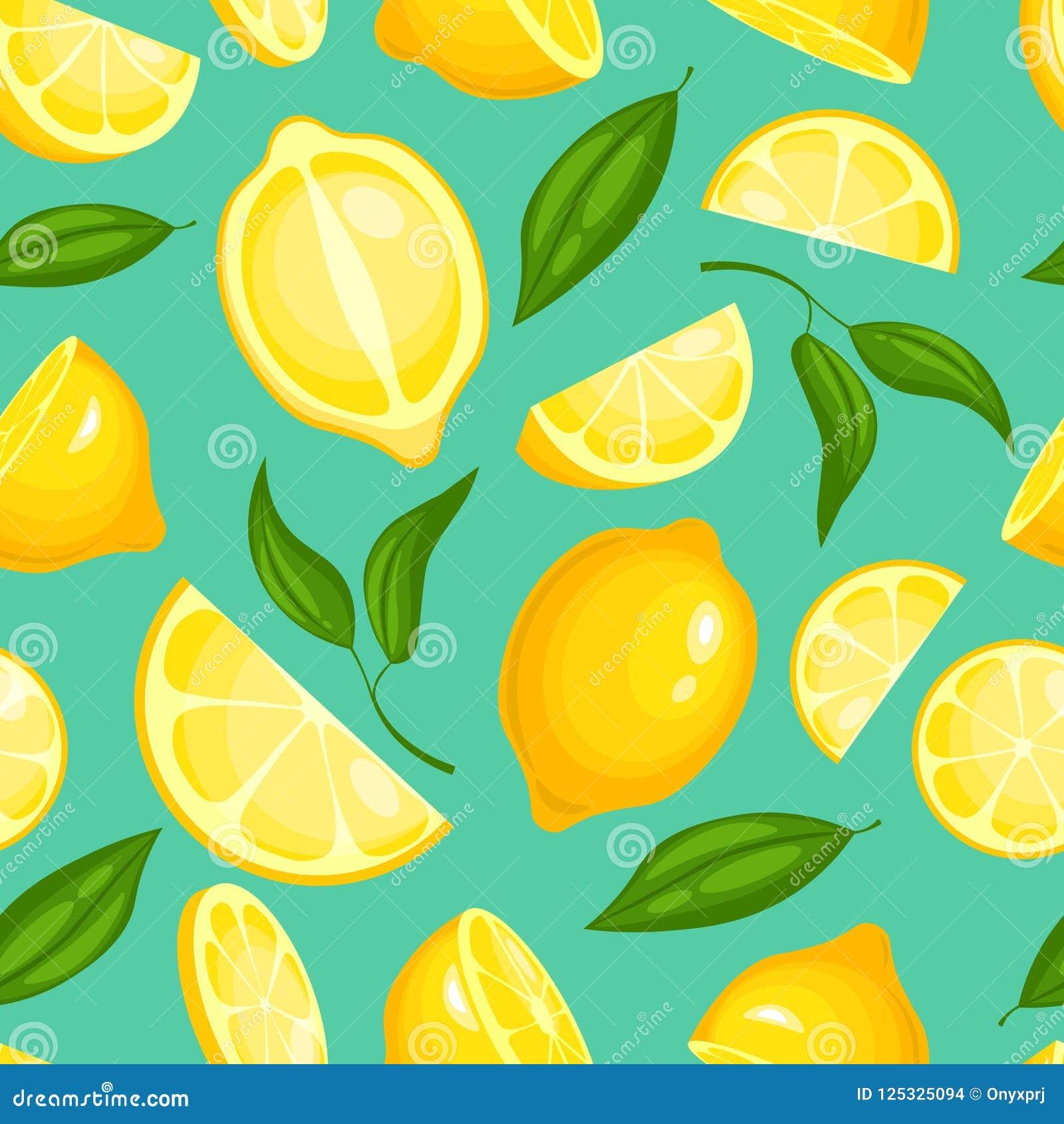 Lemon Pattern Lemonade Exotic Yellow Juicy Fruit With