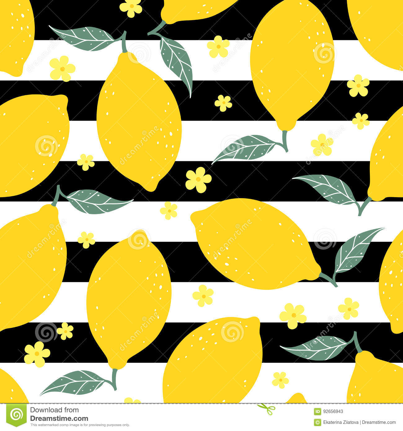 Tropical Home Decor Fabric Yellow Lemon With Leaves Vector Seamless Pattern Vector