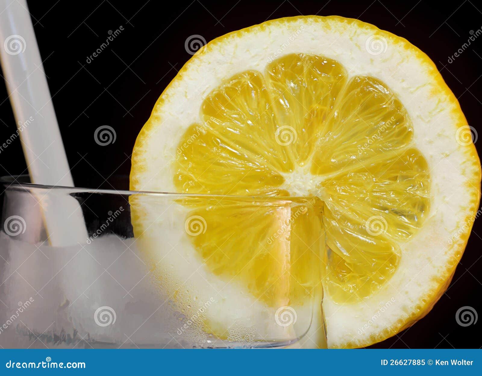 lemon slice in glass stock image image of eating cool 26627885