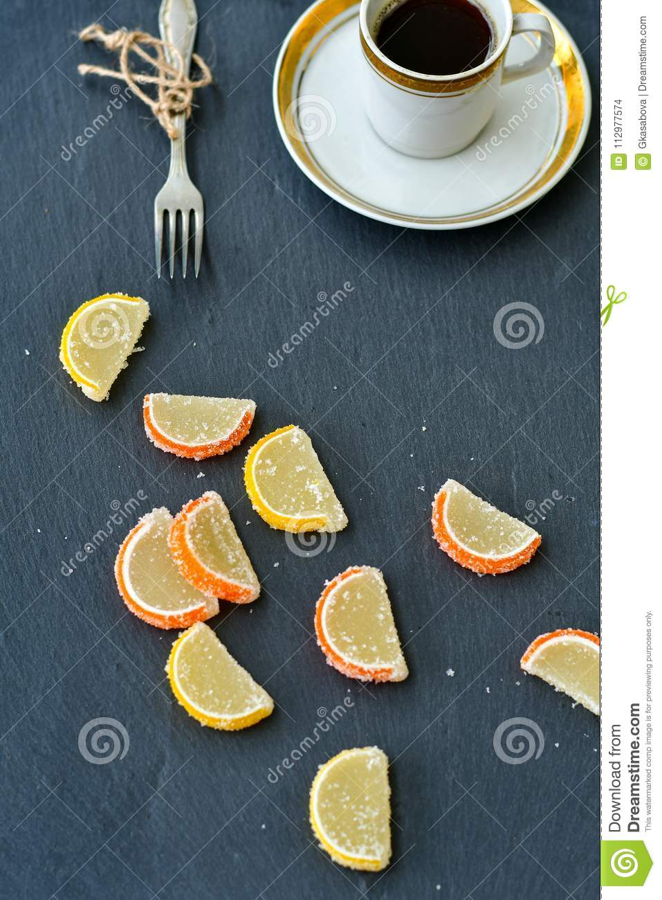 Lemon slices and cup of coffee