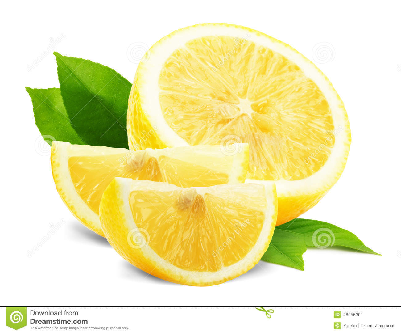 Lemon slices with leaves isolated on the white background