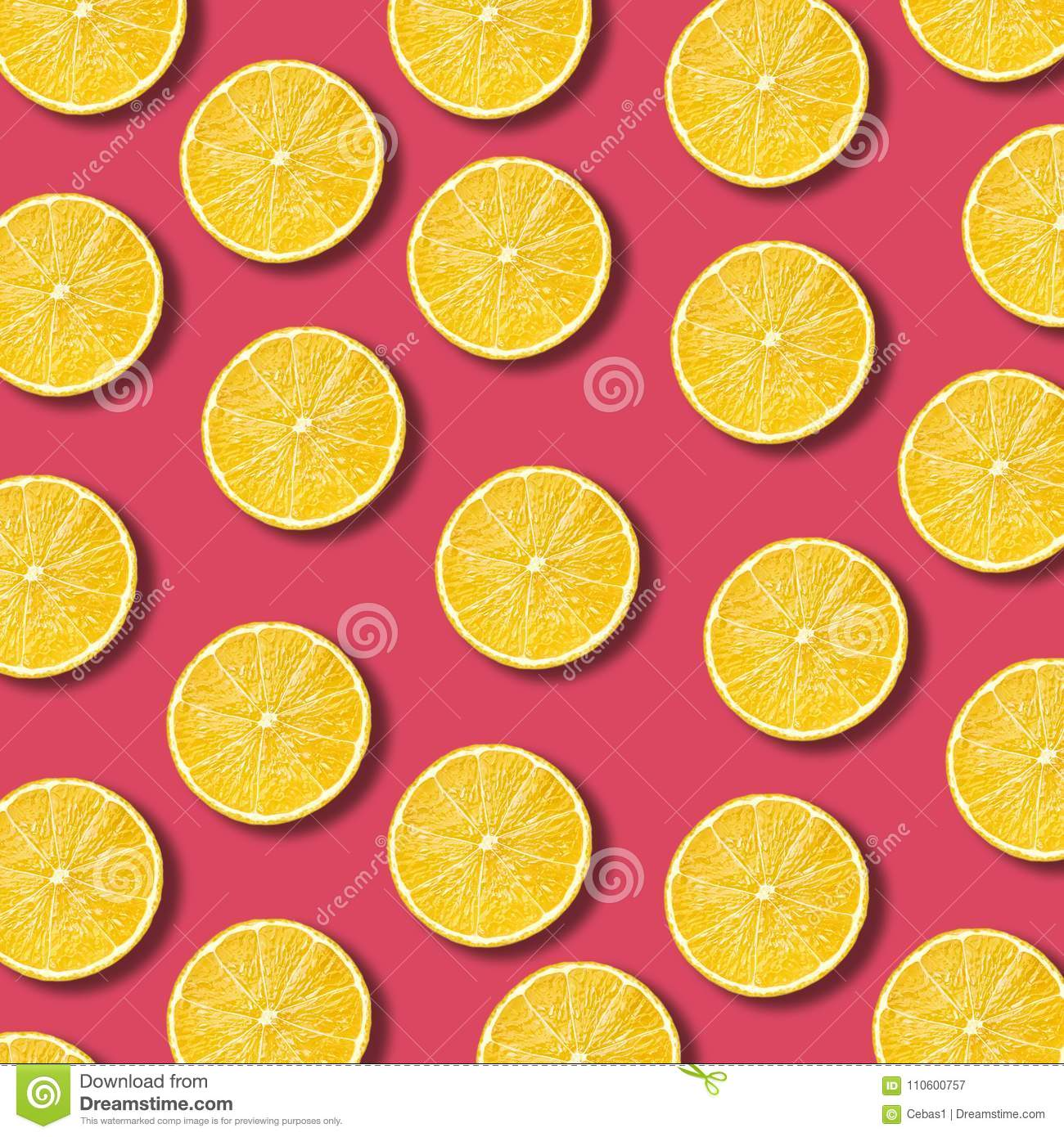 Lemon slices pattern on vibrant pomegranate color background
