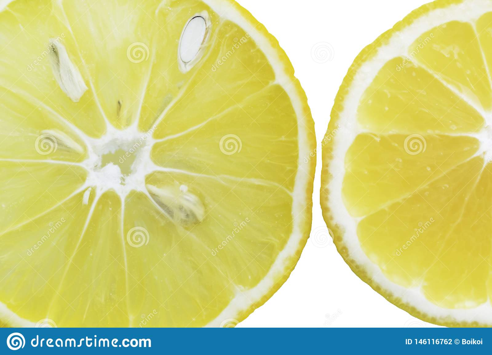 Lemon slices in the water, close-up, top view