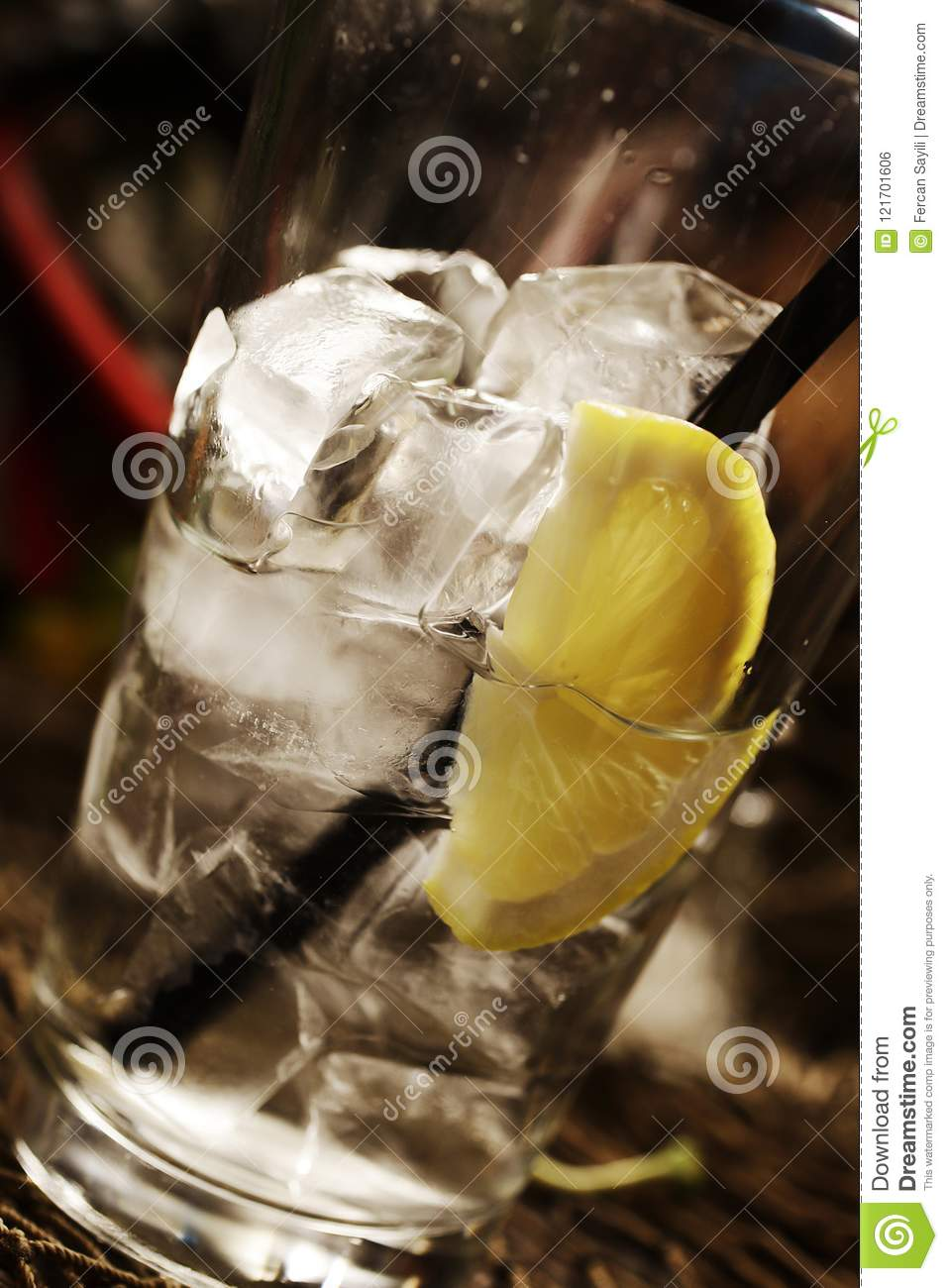 Lemon Soda In The Glass With Ice Stock Photo - Image of