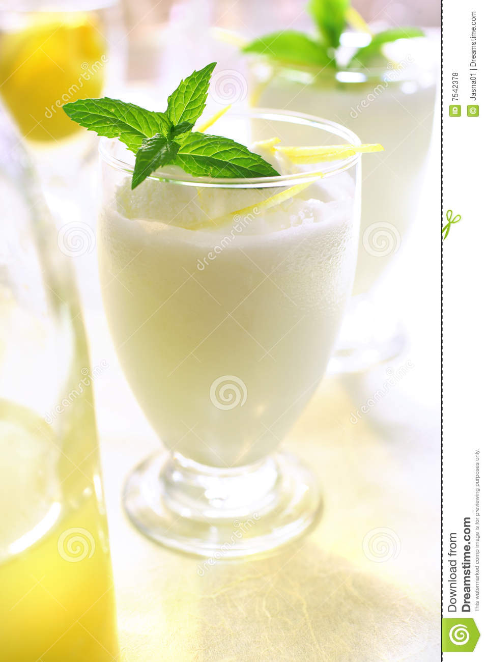 Lemon sorbet in glass