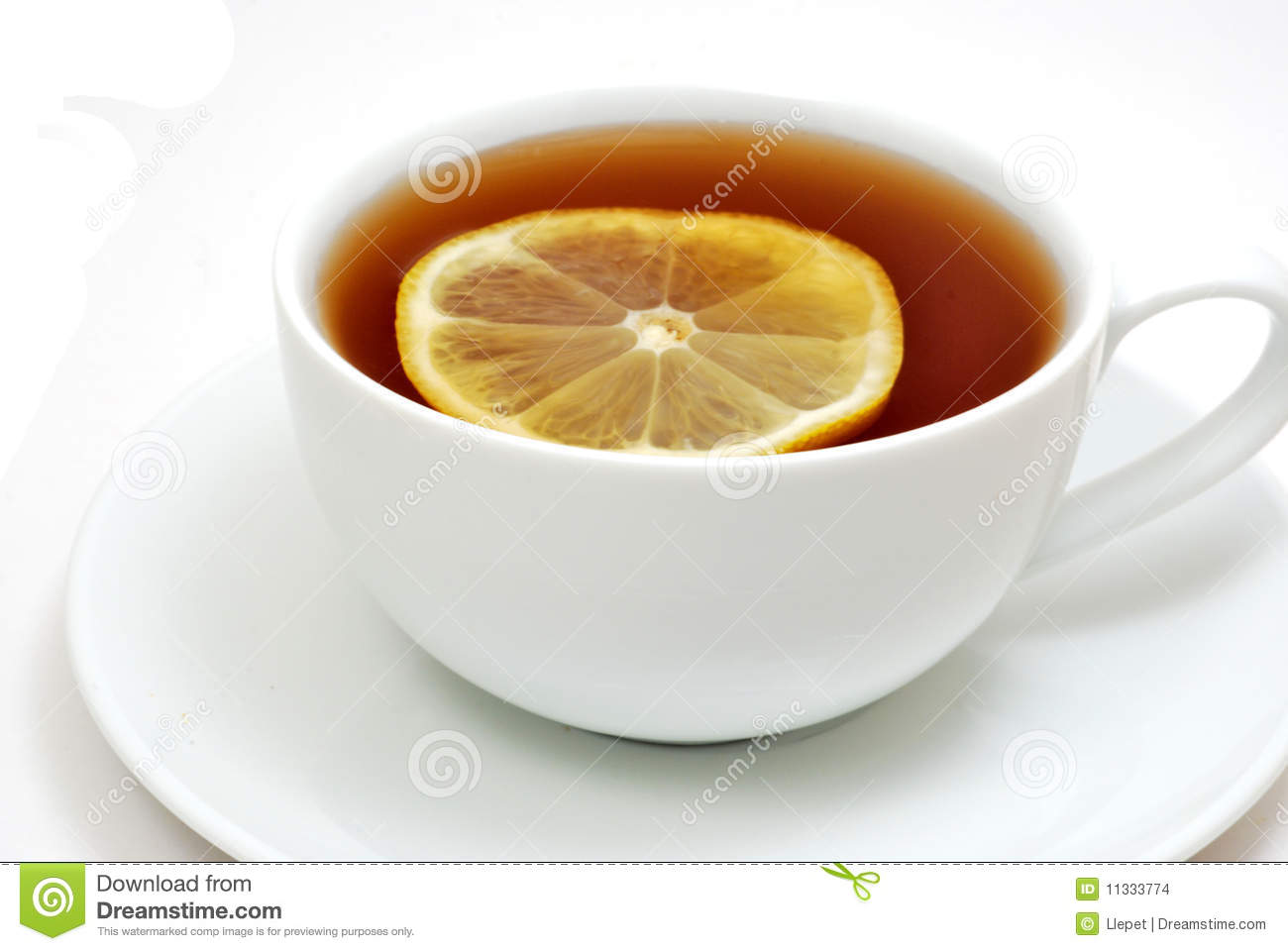 Tea with lemon isolated on white background.