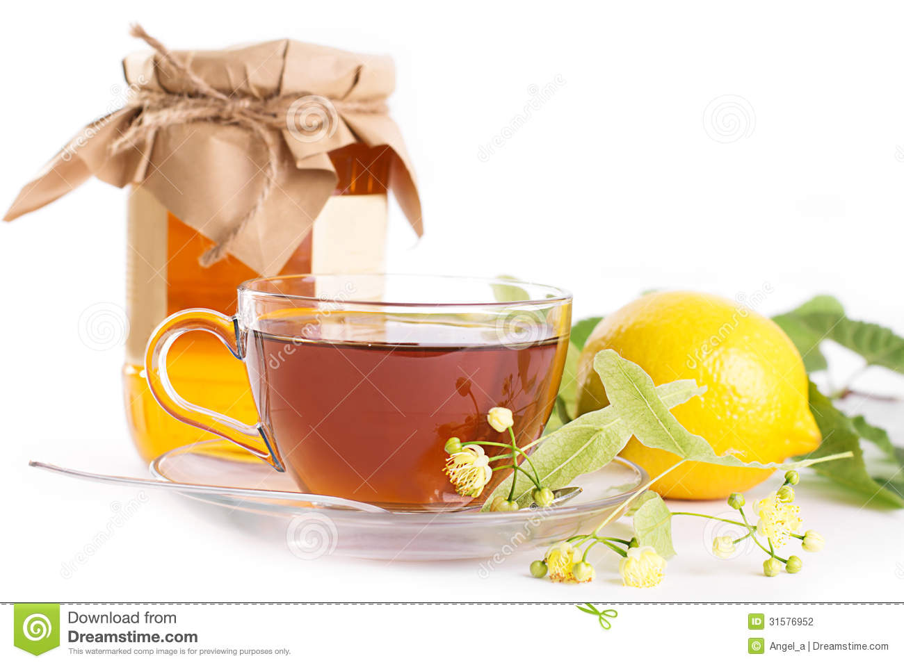 Lemon Tea With Linden Honey Jar And Flowers Stock Photography - Image ...