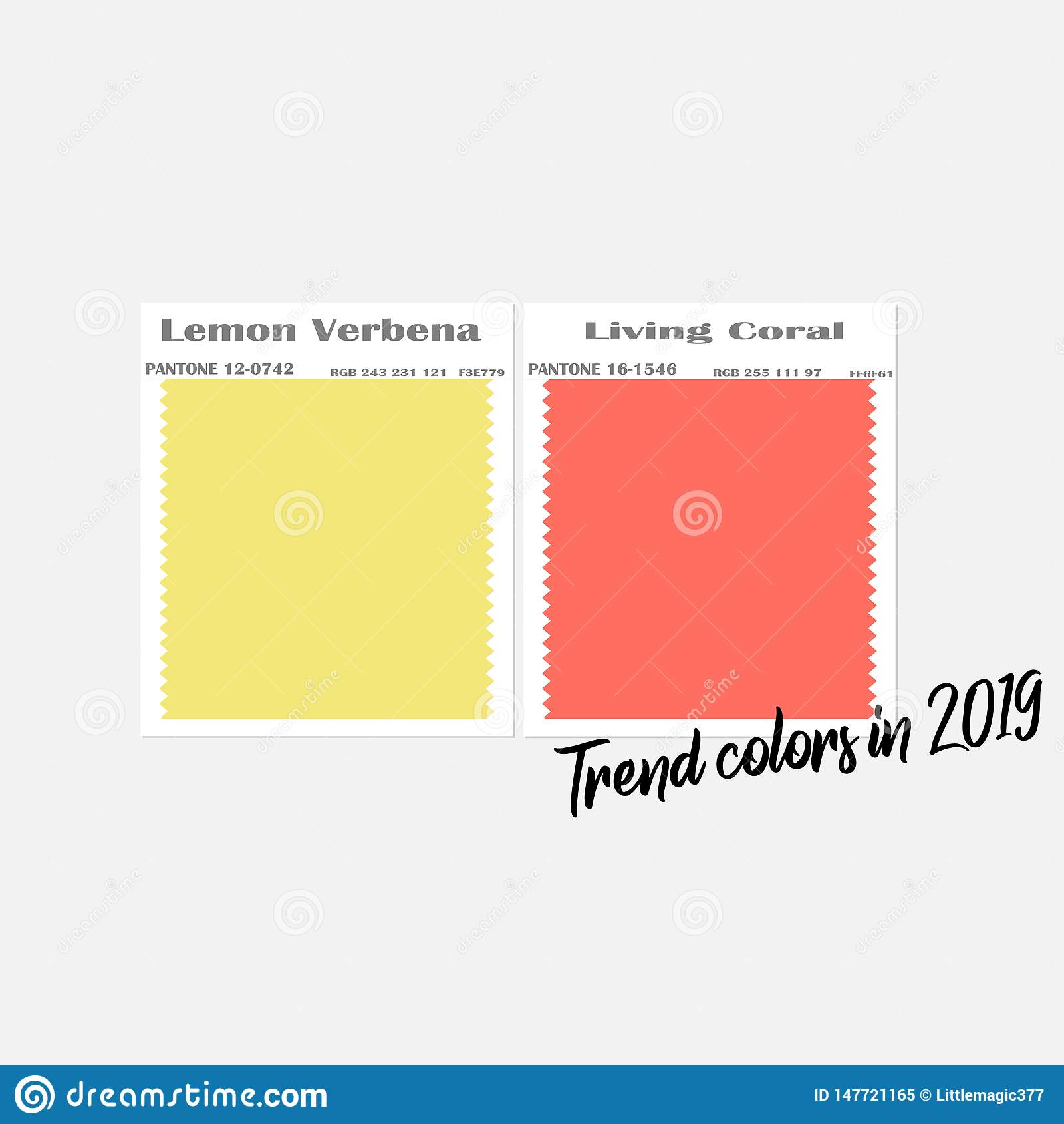 Stylish 2019 Colors Fabric Samples Stock Vector Illustration Of