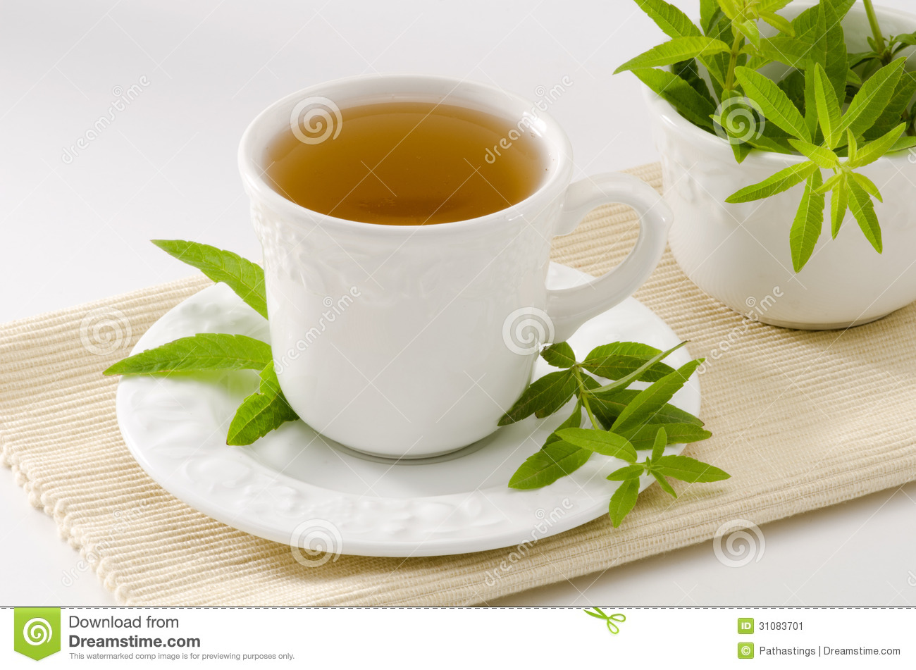 Lemon verbena Herbal Tea in a cup. Aloysia citriodora. Naturopathy ...