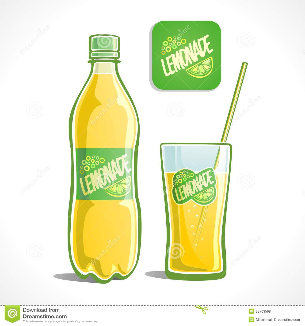 Lemonade In A Bottle And Glass Royalty Free Stock Photos