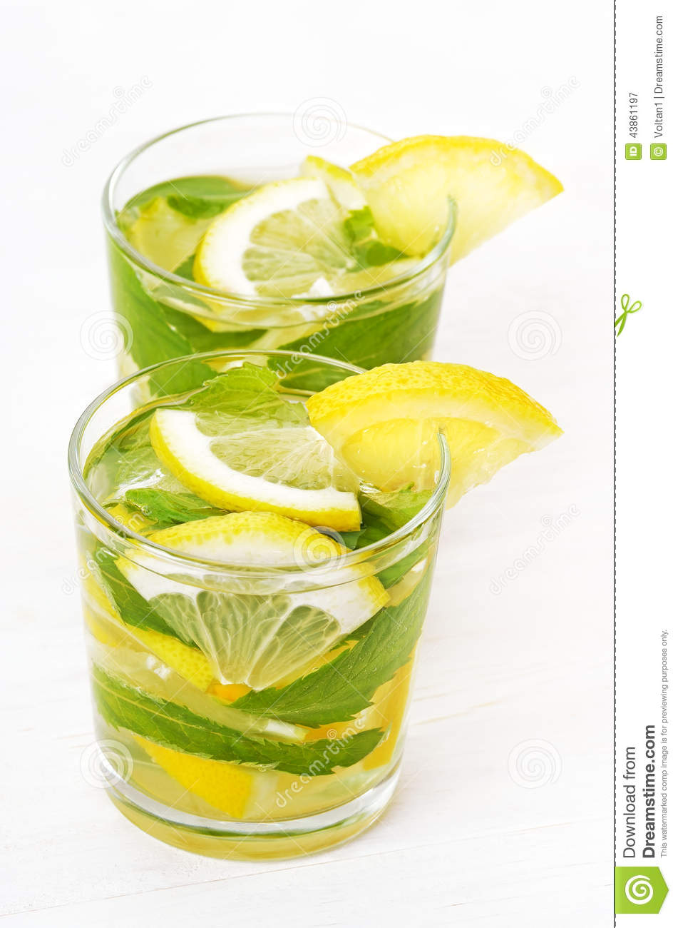 Lemonade With Fresh Lemon And Mint Stock Photo - Image: 43861197