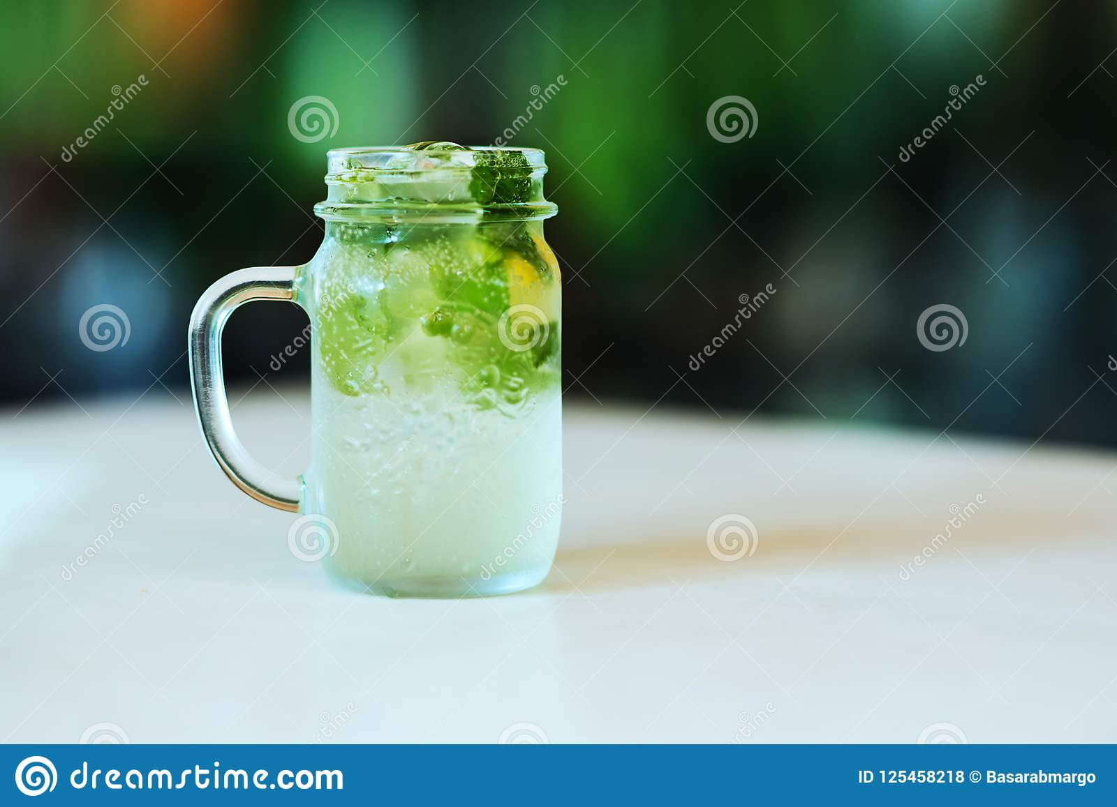 Lemonade From Lime With Mint Mohito With Ice Glass Jar Mason Jar Stock Photo Image Of Country Lemon 125458218