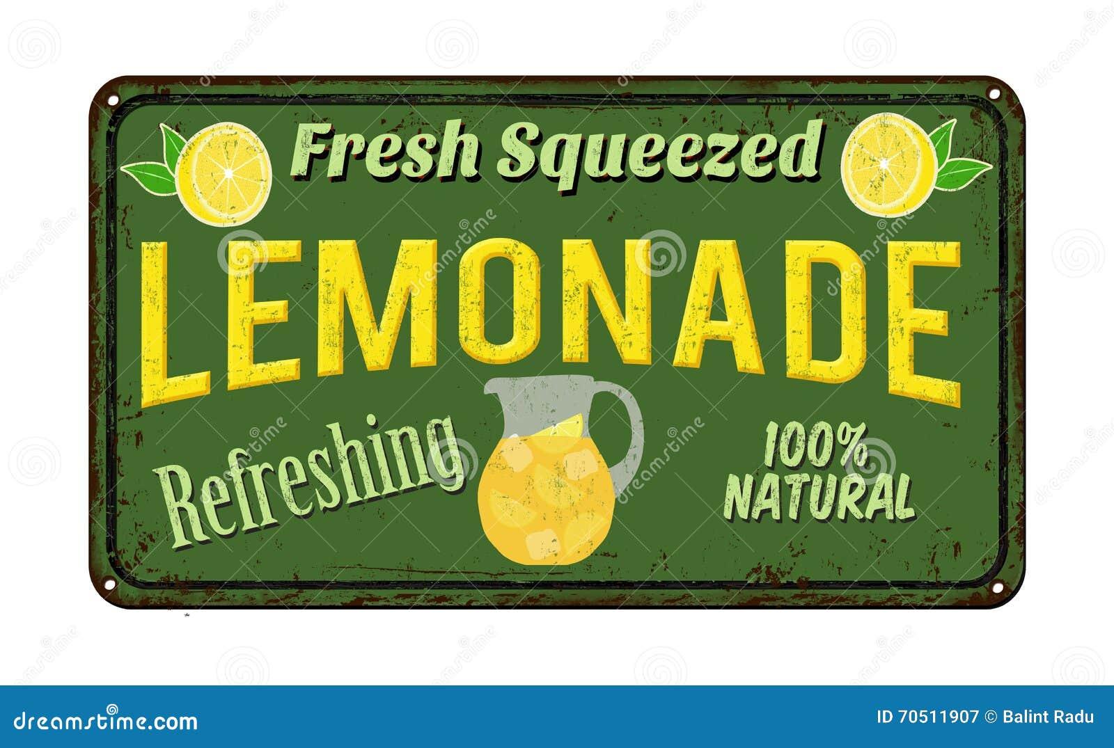 lemonade vintage rusty metal sign stock vector illustration of