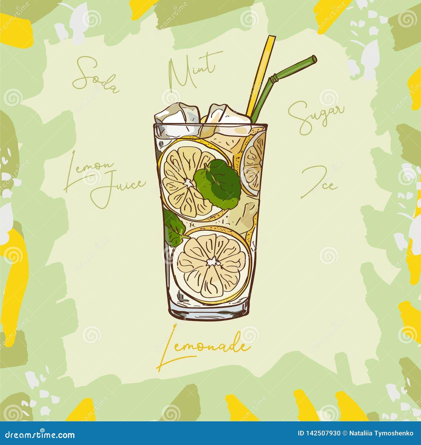 Lemoniada domowej roboty klasyk w szklanej filiżance z pić słomy i cytryny klin Odświeżającego lato napoju klamerki sztuki wektor