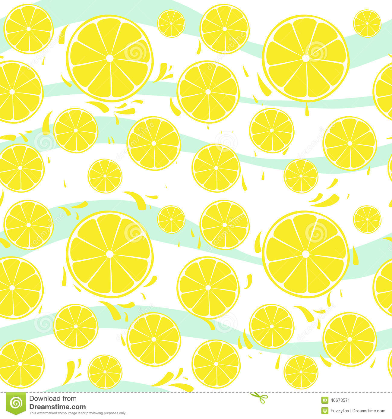 Cute Seamless Pattern With Yellow Lemon Slices Royalty ...