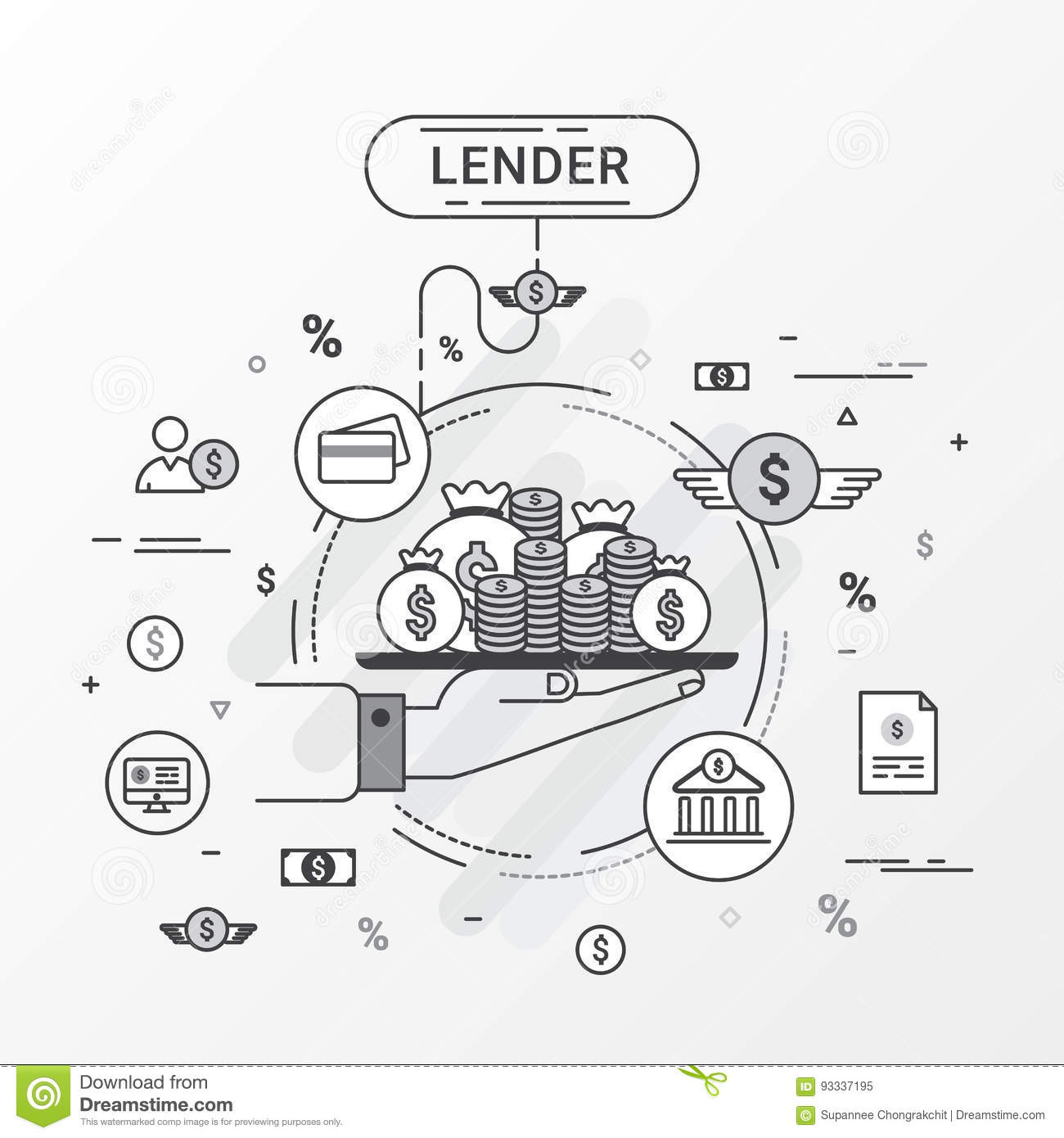 Lender infographics concept. Loan lending of money from bank, personal loans, credit card, organization or entity.