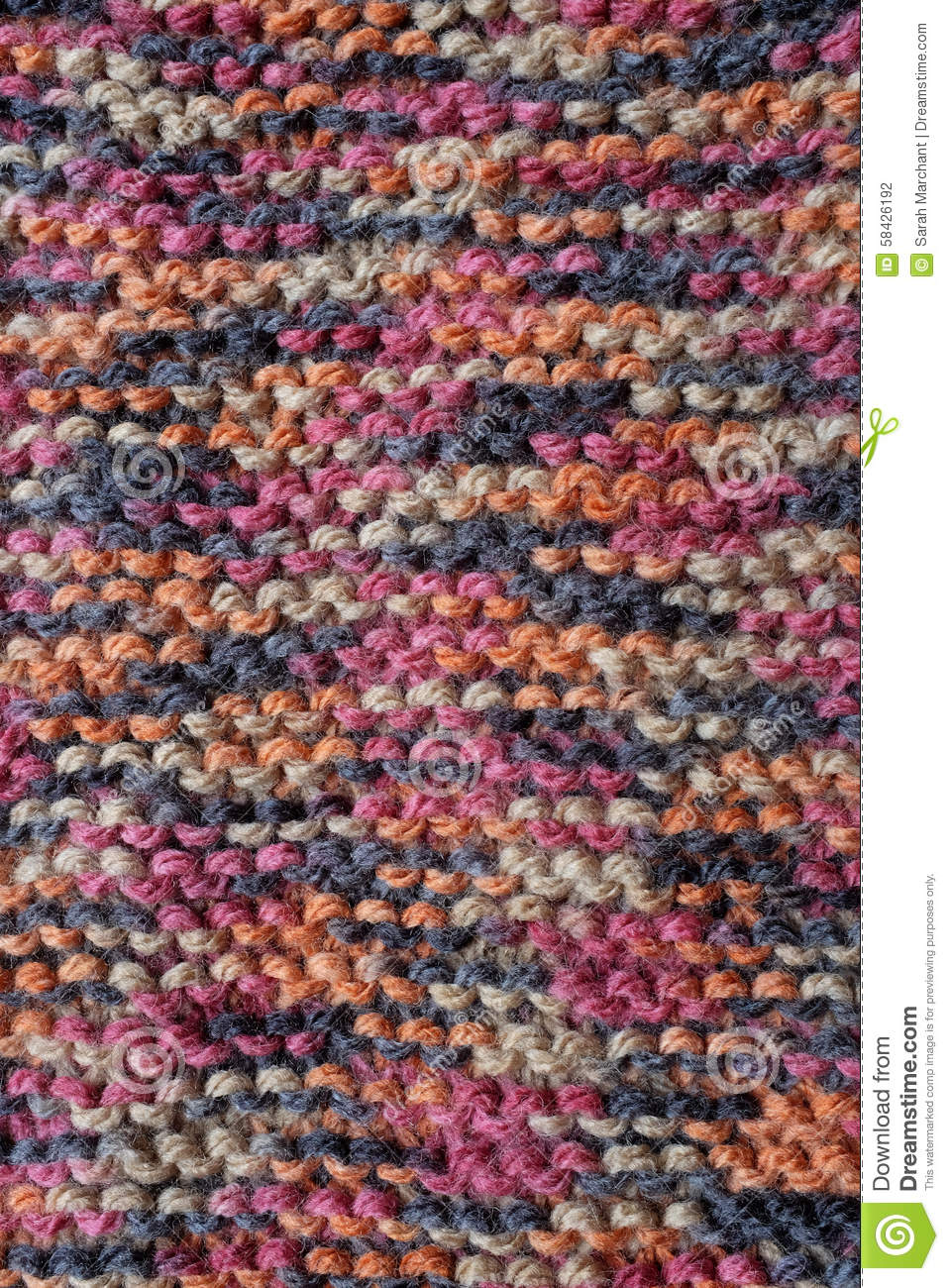 Best Knitting Stitches For Multicolor Yarn : Length Of Knitting In Multi-coloured Yarn Stock Photo - Image: 58426192